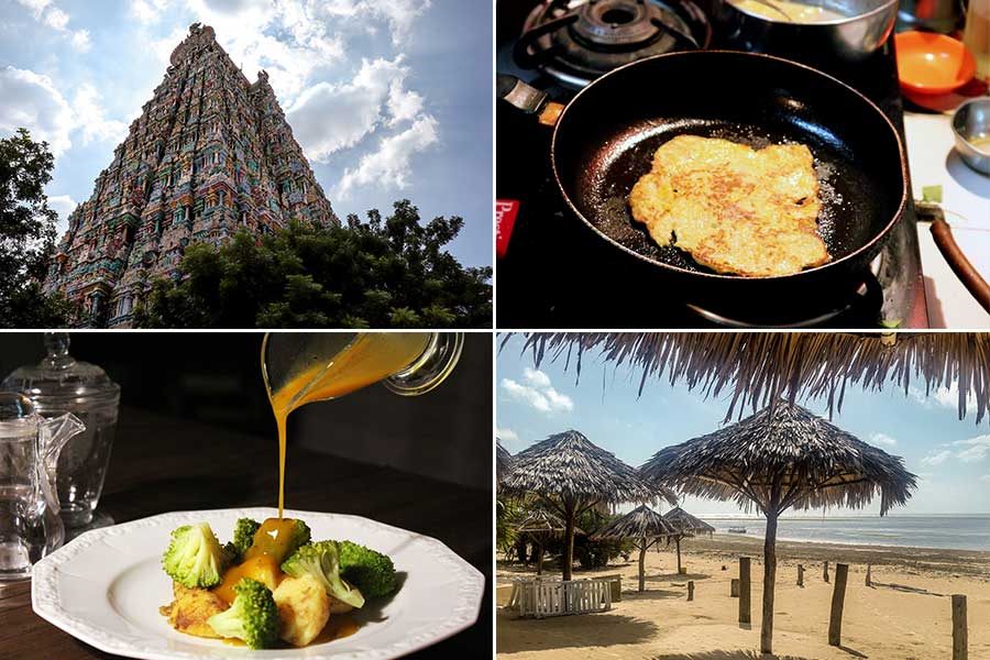 Collage for september: Meenakshi temple, vinaigrette recipe, pancakes and Malindi experience