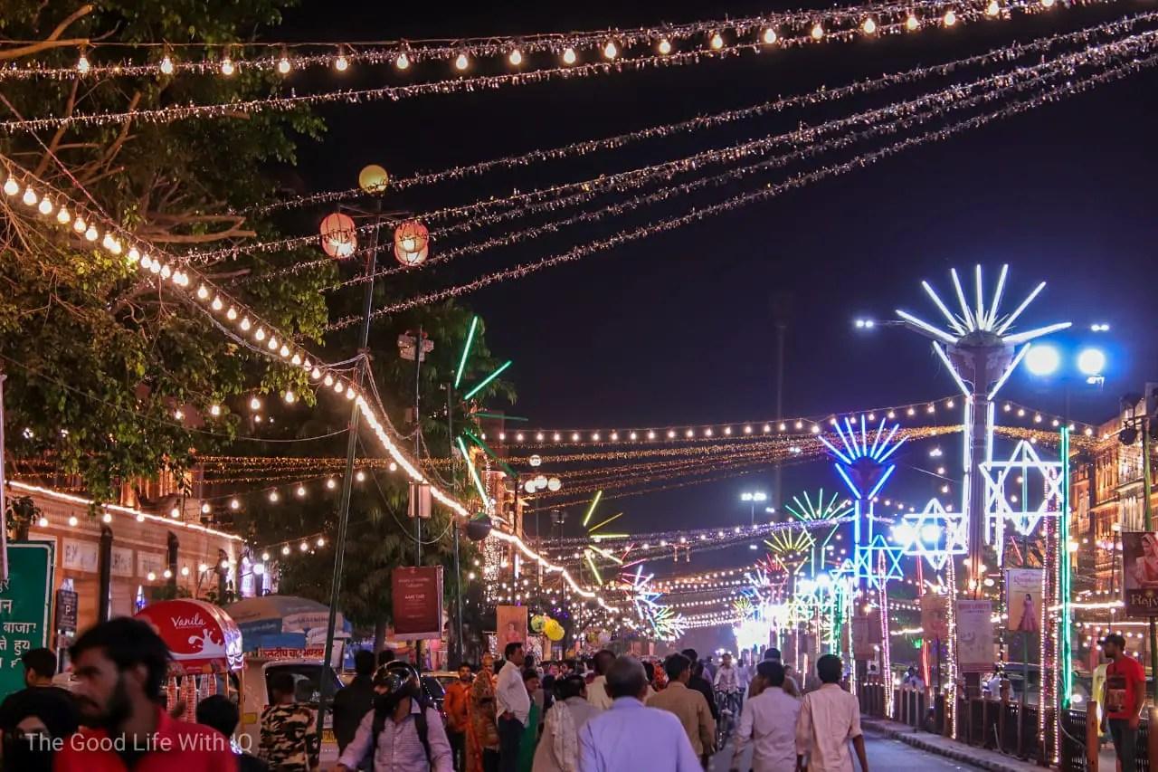Diwali lights in old city, Jaipur