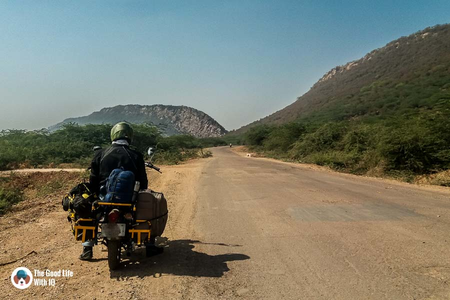 Motorcycle on bumpy road - Southern Rajasthan on two wheels
