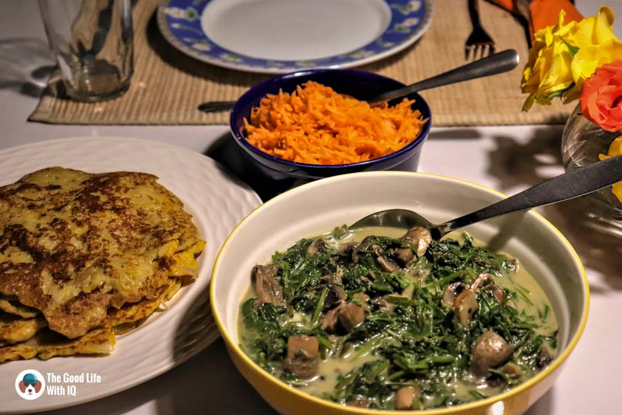 Recipe - Creamed spinach with mushrooms