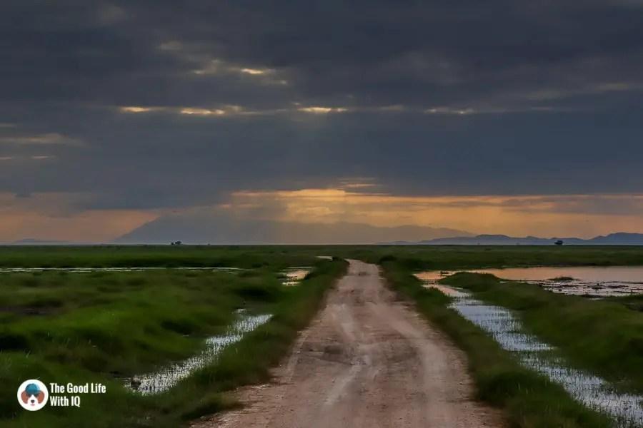 Kenya safari - Amboseli - Evening road