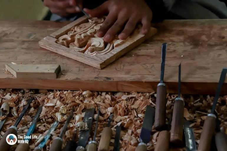 Woodcarving at Norbulingka, Dharamshala