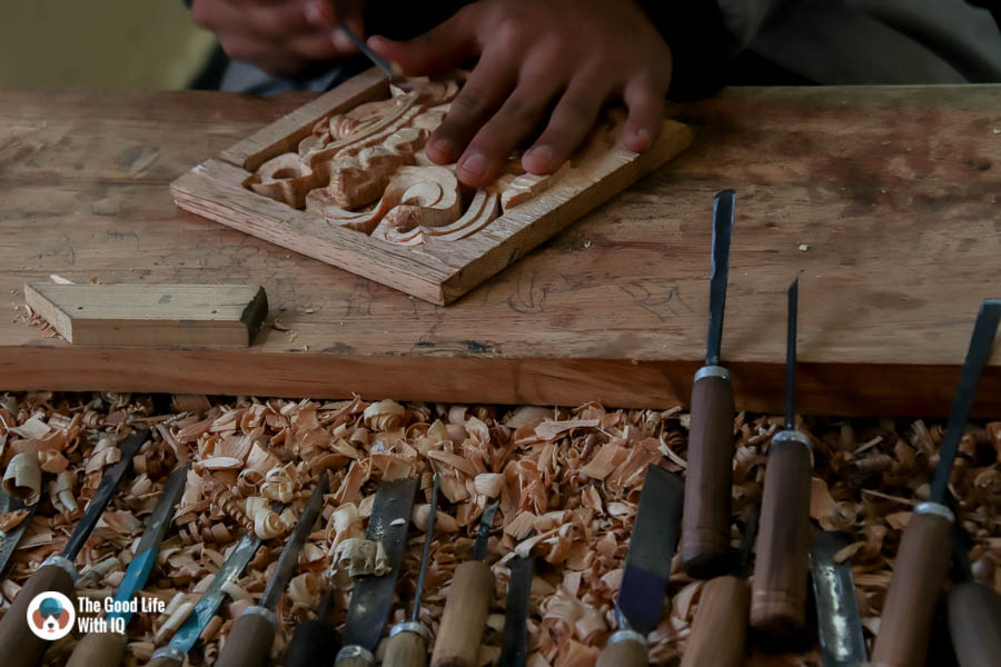 Woodcarving at Norbulingka, Dharamshala