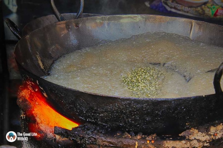 Deep frying moong dal