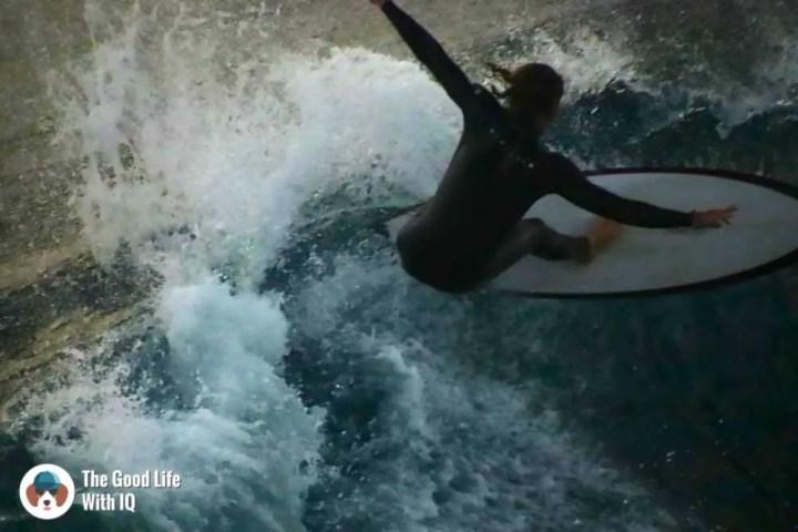 Surfer at Mahana Point, Ceningan, Bali