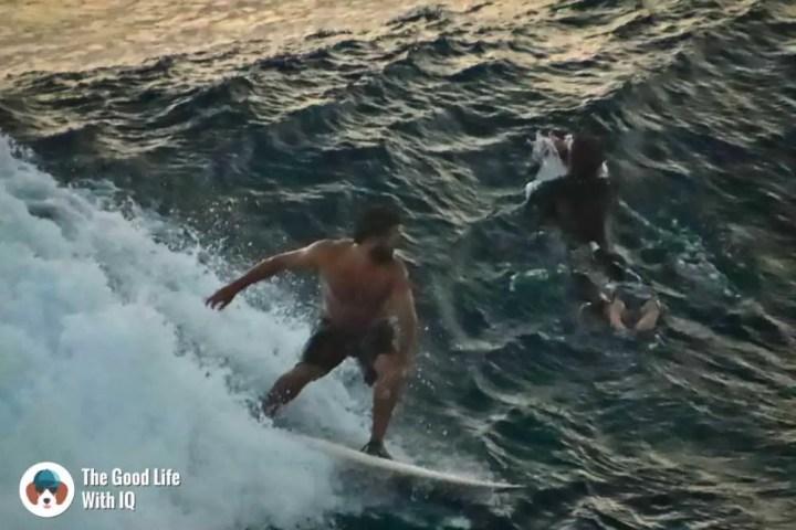 Surfers at Mahana Point, Ceningan, Bali