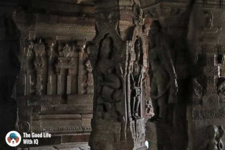 Carved granite pillars - Lepakshi temple