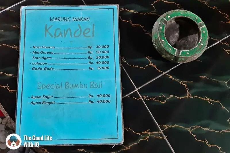 Menu of Warung Kandel, Nusa Ceningan