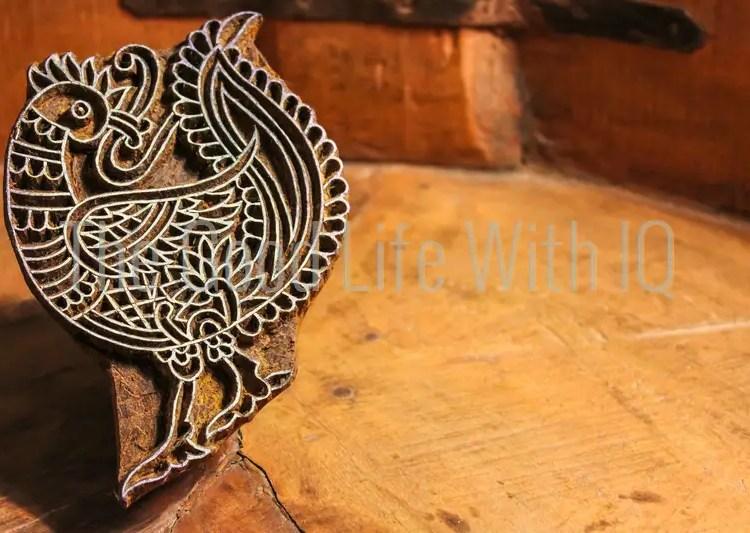 Ajrakh peacock printing block