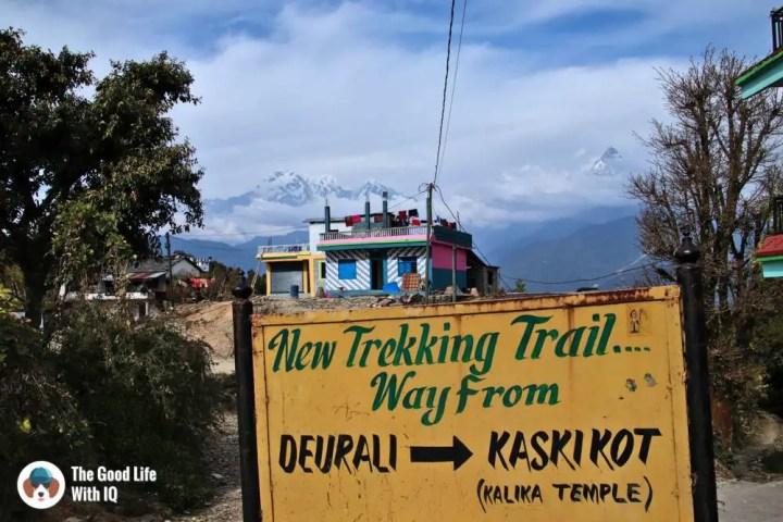 Deurali-Kaskikot trail signboard