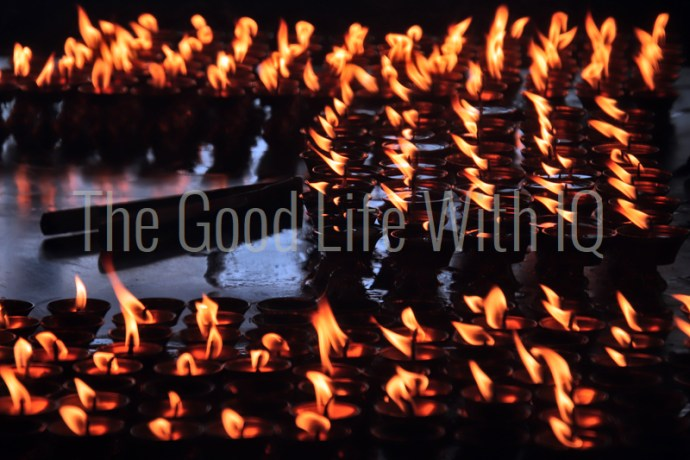 Close up of butter lamps in Dharamsala