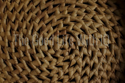 Close-up of spiral cane basket weave pattern