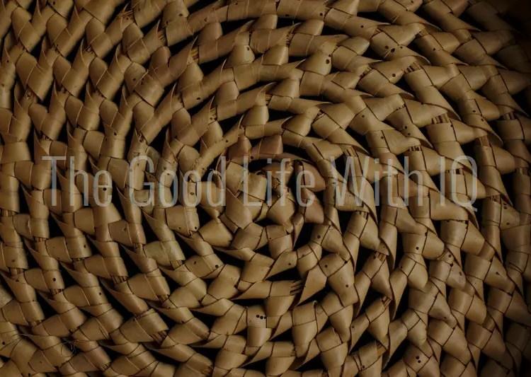 Close-up of spiral cane basket weave pattern