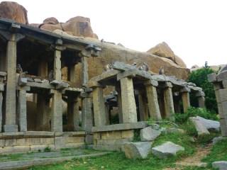 Grey langur monkeys gambol among the ruins