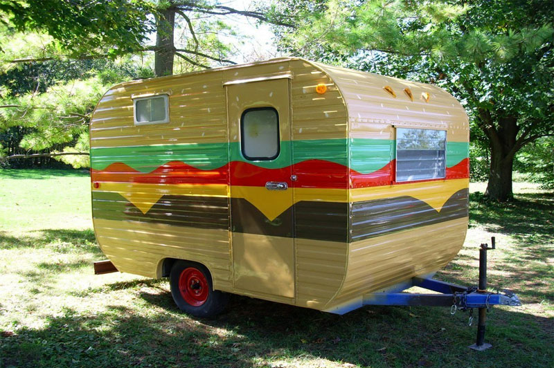 painted travel trailer