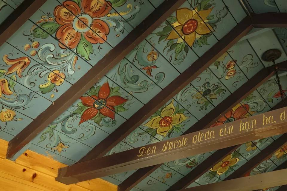 Scandinavian Folk Art Ceiling Mural