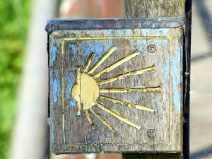 Waymarker scallop shell sign