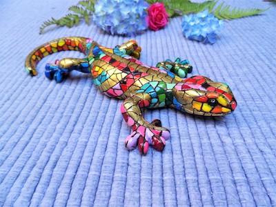 Gecko mosaic figurine