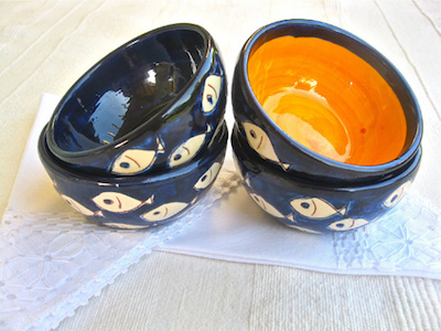 Spanish pottery bowls fishes