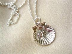 Scallop shell cross charm