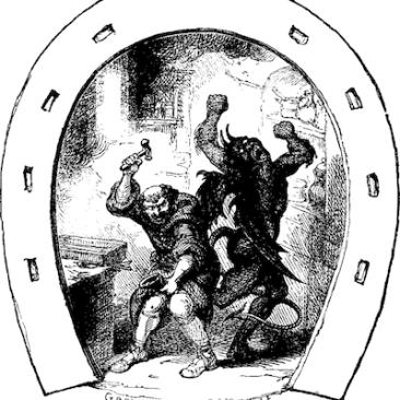 Dunstan nails horseshoe to Devil