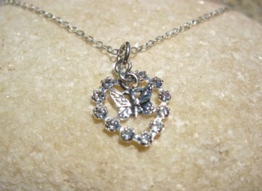 Butterfly and heart necklace