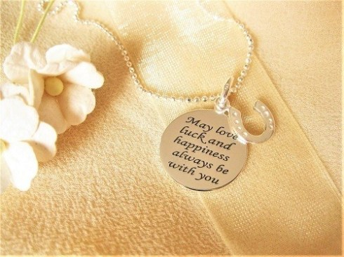 Love Luck and Happiness in retirement necklace