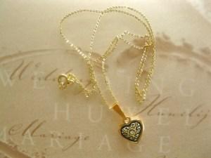 Gold gift for 50th wedding anniversary Damascene heart