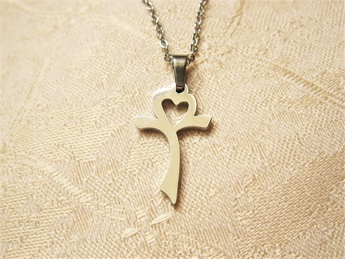 Christian cross necklace and heart