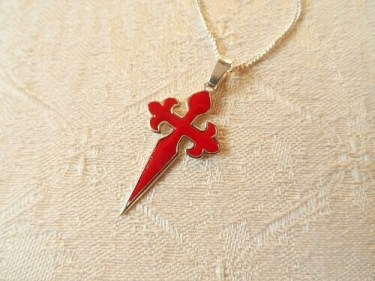Cross of St James necklace red