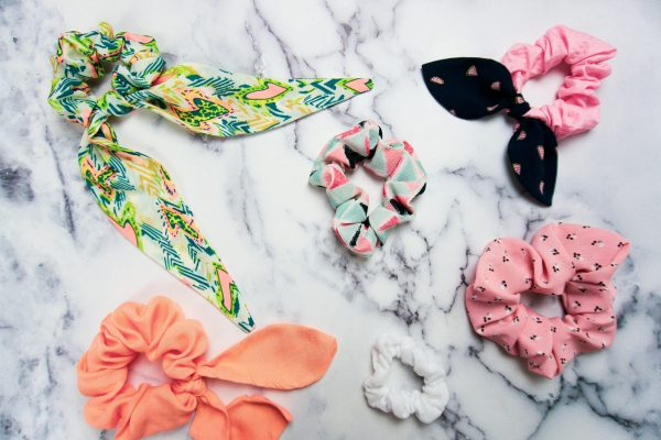 Assorted homemade scrunchies.