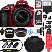 Nikon D3400 24.2 MP DSLR Camera + AF-P DX 18-55mm VR NIKKOR Lens Kit + Accessory Bundle 64GB SDXC Memory + SLR Photo Bag + Wide Angle Lens + 2x Telephoto Lens + Flash + Remote + Tripod+Filters (Red)