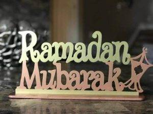 A 'Ramadan Mubarak' stand.