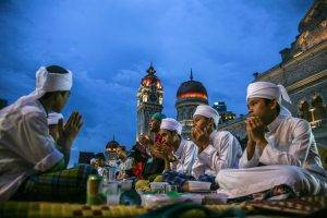 Muslims observing Ramadan in Malaysia.