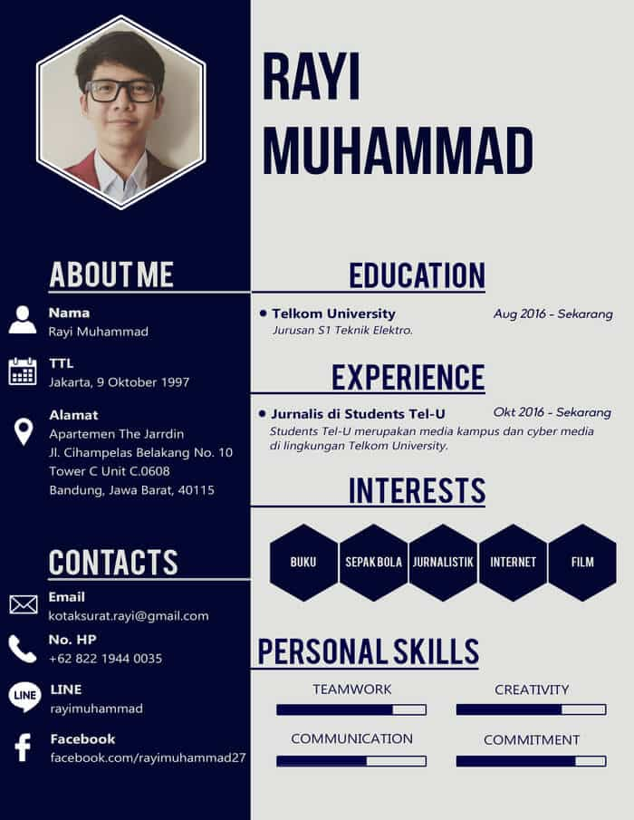 7+ Contoh CV Lamaran Kerja Kreatif dan Menarik   100% ...