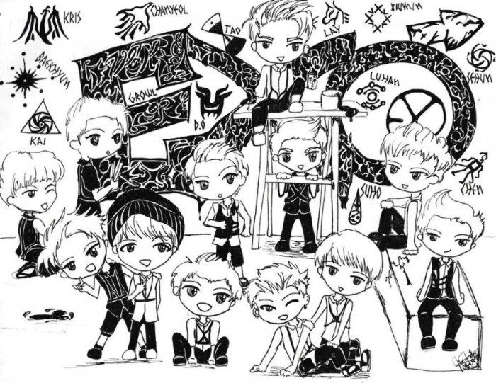Gambar Doodle EXO