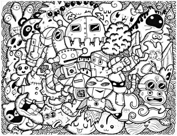 Gambar Doodle Robot