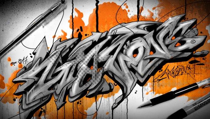 30 Gambar Grafiti Tulisan Huruf Nama 3d Mudah Keren Bagus