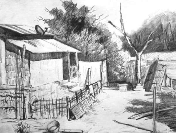 Gambar Sketsa Perkampungan