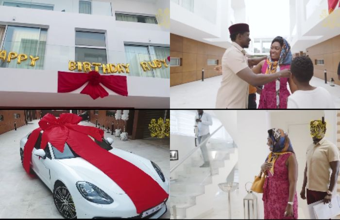 Young Ghanaian Millionaire, Cheddar, Buys Brand New Porshe Panamera And A Huge Mansion As Birthday And Mother's Day Gifts For His Wife