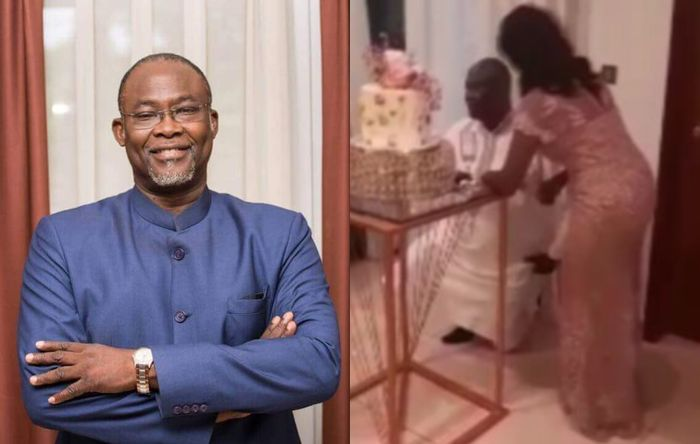 67-year-old Ekow Spio-Garbrah Falls To His Knee And Proposes To His Girlfriend, Dr Awura Mansa