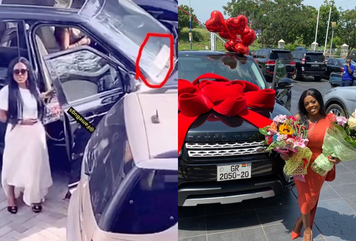 Nana Aba Anamoah Removes Fake Number Plate On Her Range Rover Following DVLA's Press Release