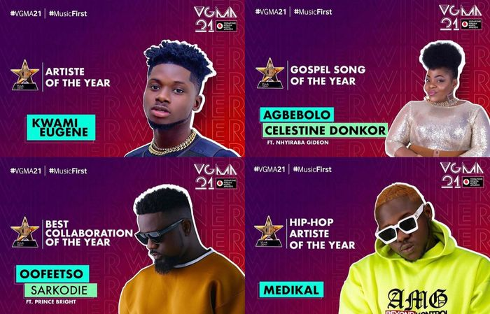 #VGMA21: Here Are All The Winners For The 2020 Vodafone Ghana Music Awards