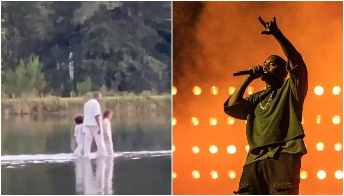VIDEO: Kanye West Immitaes Jesus Christ As He Miraculously Walked On Water During Sunday Service