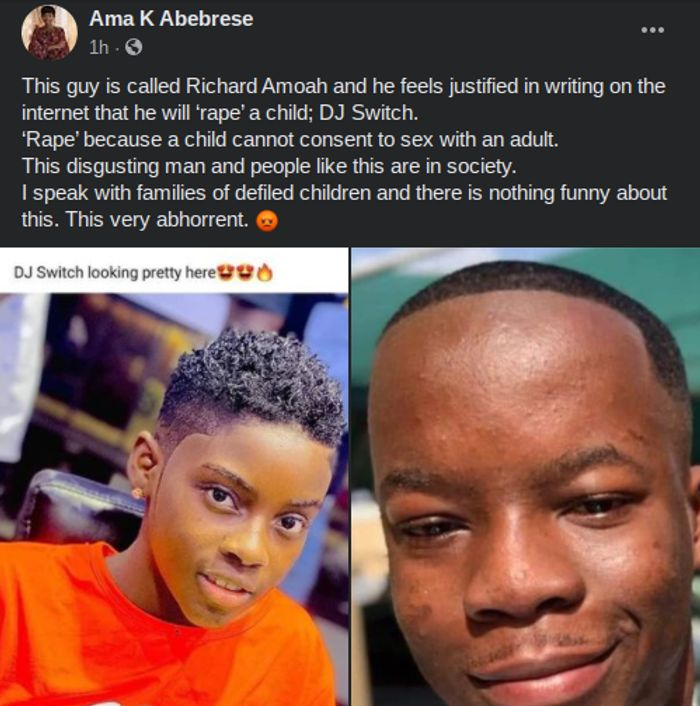 Young Man, Richard Amoah, Who Said He Must 'Rape' 12-year-old DJ Switch Lands In Trouble As Angry Feminists Call For His Arrest