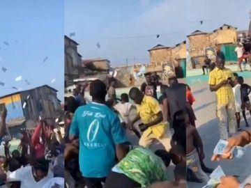 VIDEO: Money No Be Problem! Medikal Sprays Bundles Of Cash On Fans During A Music Video Shoot