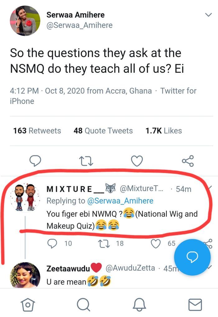 """You Think It's """"National Wig and Makeup Quiz""""? - Fan Replies Serwaa Amihere After Expressing Shock At Questions Being Asked At The 2020 NSMQ"""