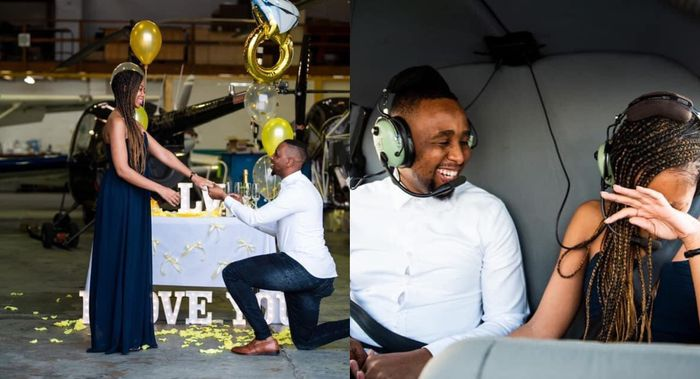 PHOTOS: Romantic Man Takes His Girlfriend On A Helicopter Ride Moments After She Accepted His Proposal