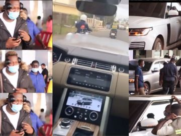 VIDEO: Medikal Was Welcomed Like A President By His Cartel Of Alleged Scammers At The Kotoka Airport