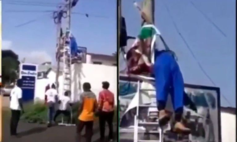 VIDEO: Young Ghanaian Man Dies While Fixing A Party Flag On A Light Pole